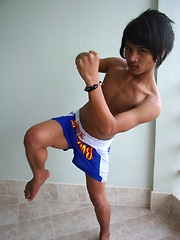 Cute gay Thai kickboxer posing and stripping, Added: 2012-05-14 by BoyKakke