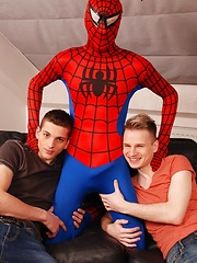 Staxus - Gang Bang: Dick Smolderingly Hot Threesome As Spiderman Fucks & Creams Two Horny Twinks!, Added: 2013-10-02 by Staxus