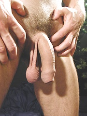 Thomas eats a peach while his uncut cock hangs out., Added: 2014-04-30 by BF Collection